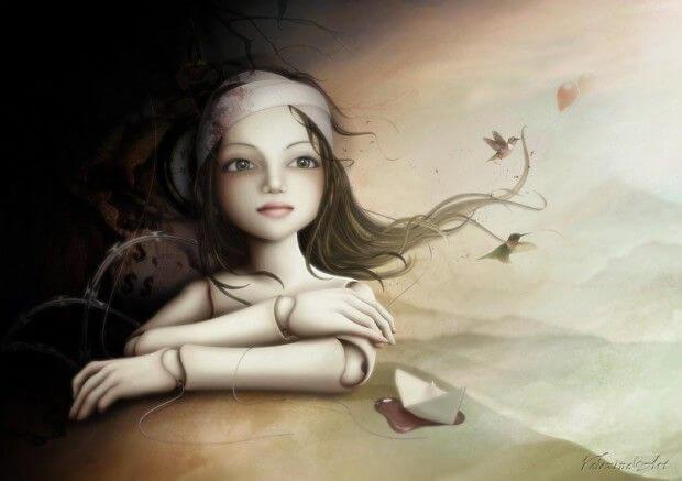 saçının ucunda küçük kuşlar olan düşünen kız