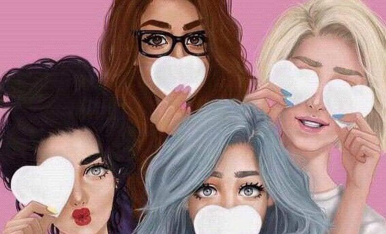 ellerinde kağıt kalpler olan dört kız