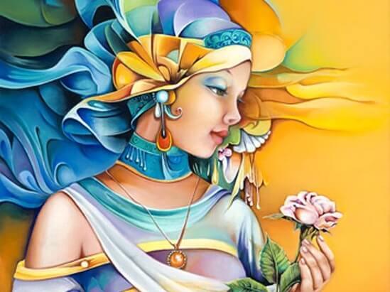 huzurlu kadın ve çiçeği