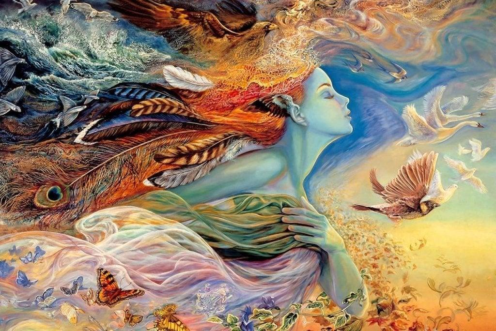 kadın kuşlarla renkli bir poz veriyor