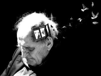 kafasında küçük pencere olan yaşlı adam ve kuşlar