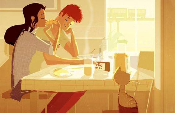 kahvaltı eden çift ve kedileri