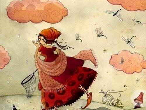 kırmızı elbiseli böcek avcısı