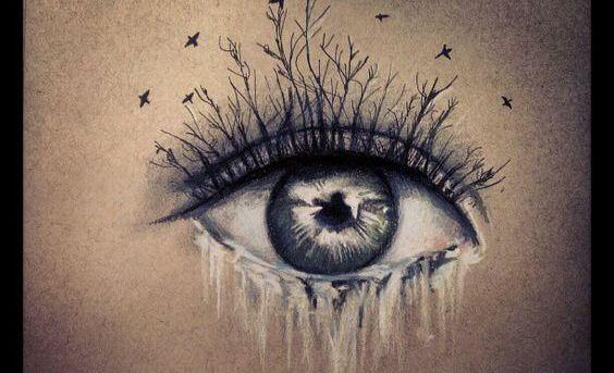 kirpikten dalları olan ağlayan göz