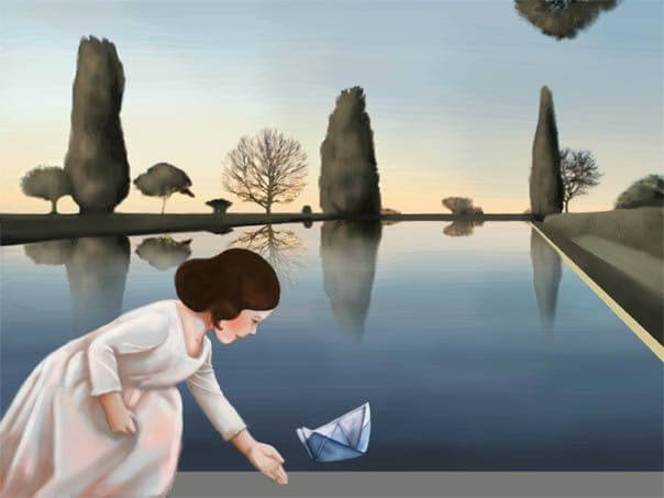 suda kağıt kayık yüzdüren kız