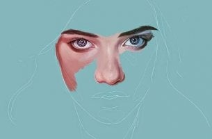 mavi renk içinde kadın yüzü