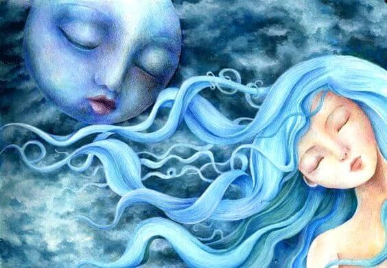 kadın, bulutlar ve ay