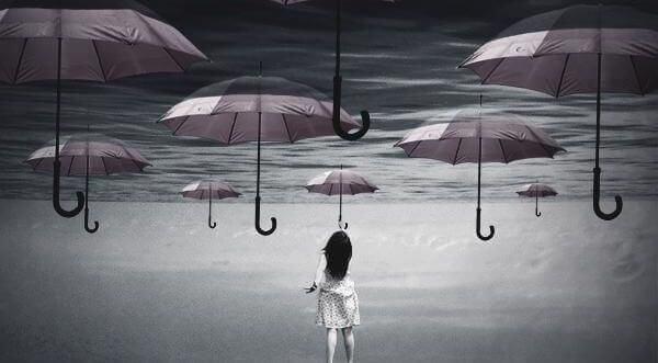 havada duran şemsiyeler