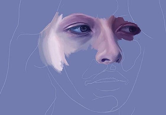 mor renk içinde üzgün kadın