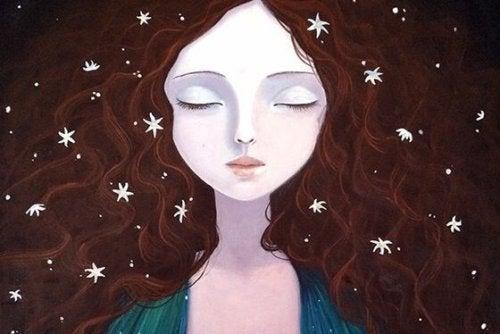 saçları yıldızlarla bezeli kız