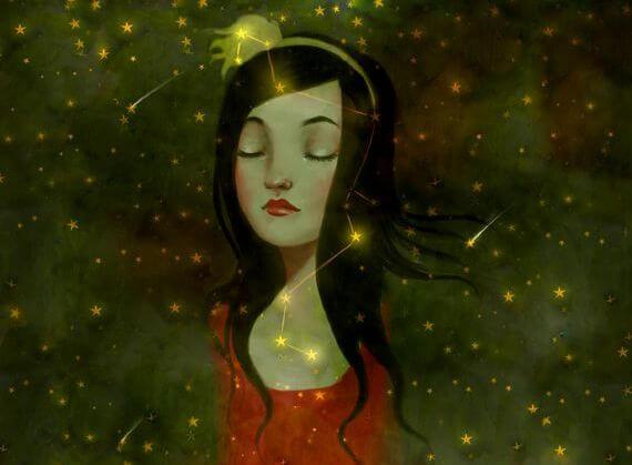 yıldızlar içinde düşünen kız