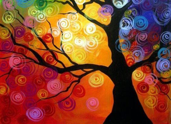 rengarenk çizilmiş ağaç