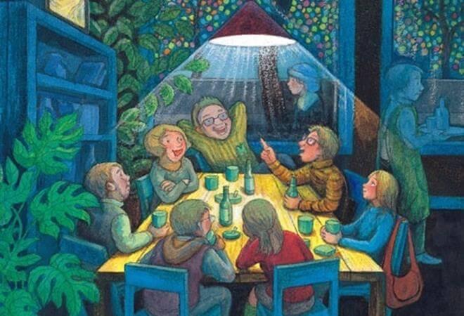 aile yiyip içip eğleniyor