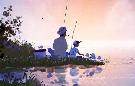 balık tutan baba ve oğul