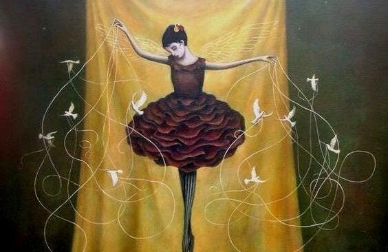 kuş ve ipli balerin