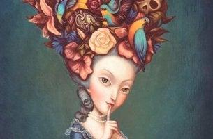 kafasında çiçekler olan kadın