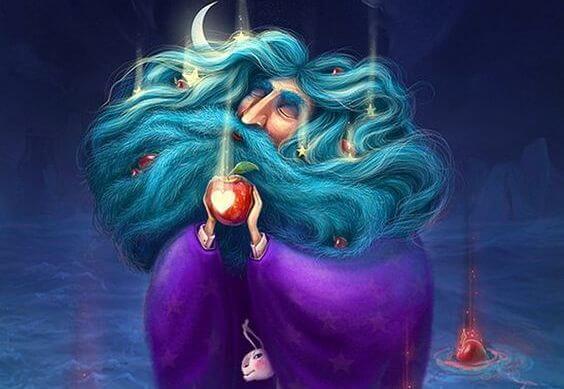 elma tutan mavi saçlı adam