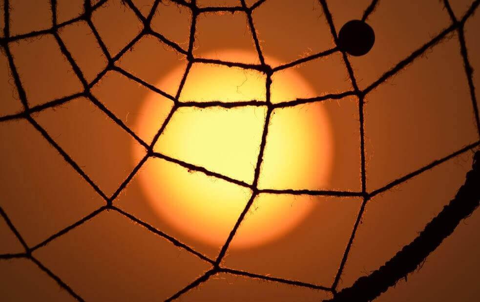 örümcek ağı şeklinde ip arkasında puslu güneş