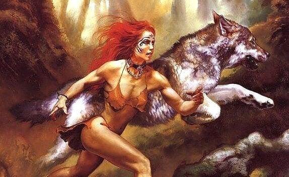 koşan kurt ve kadın