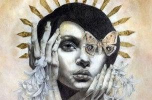 kadının gözünde kelebek var