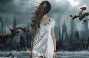 kadın şehirde kabus görüyor