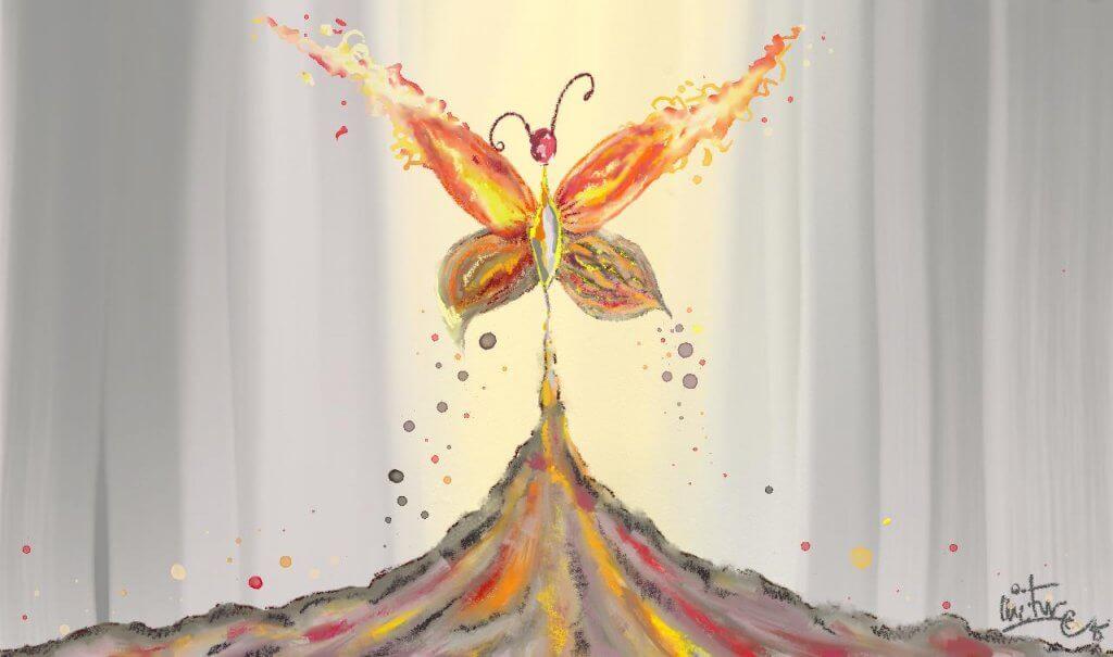 yanardağdan çıkan ateş kelebeği çizimi