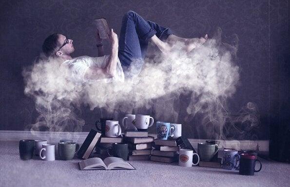 bulutların üstünde kitap okumak
