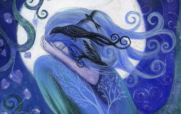 kafasında siyah kuşla ağlayan mavi ağaç kız