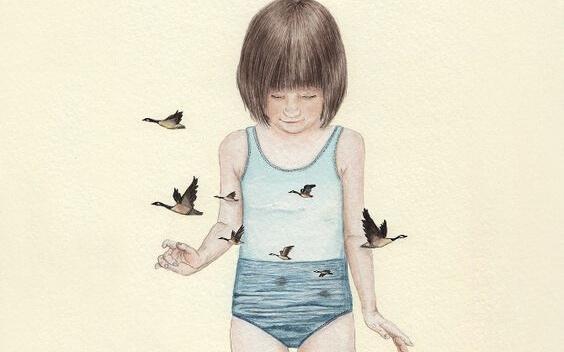 kız çocuğu ve kuşlar