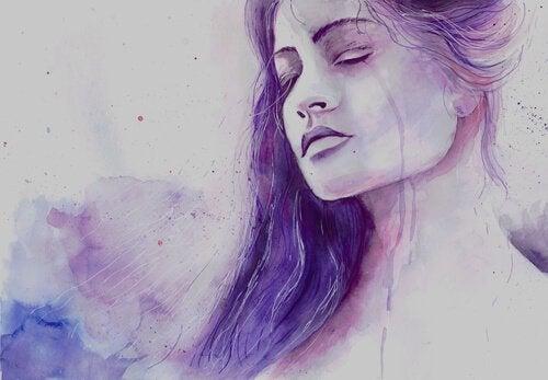ağlayan üzgün mor kadın