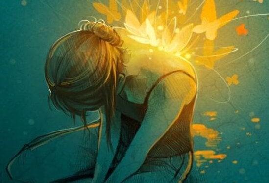 ışıktan kelebek kanatlı kadın