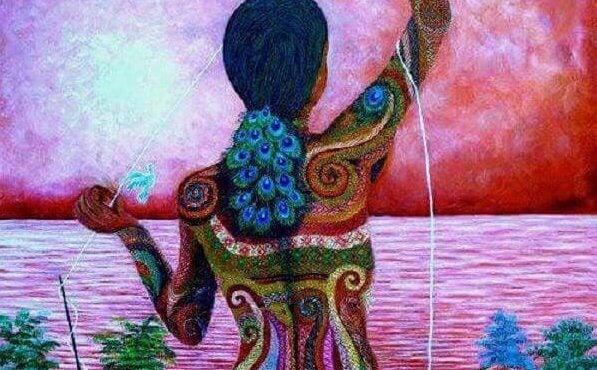 su kıyısında renkli kadın