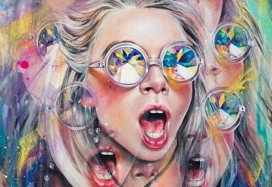 rengarenk camlı gözlükle bağırmak