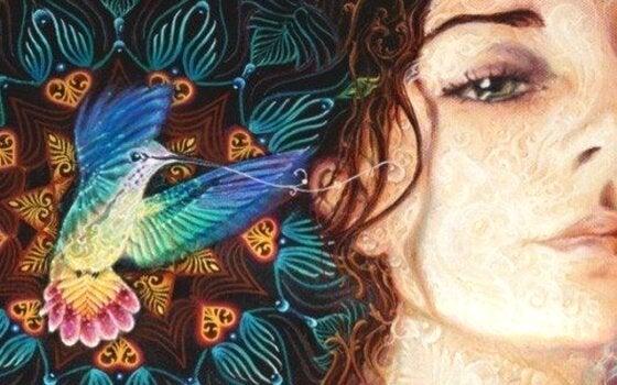 kadın ve rengarenk kuş