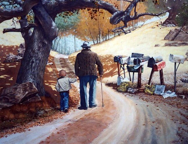 torunuyla yürüyen büyükbaba