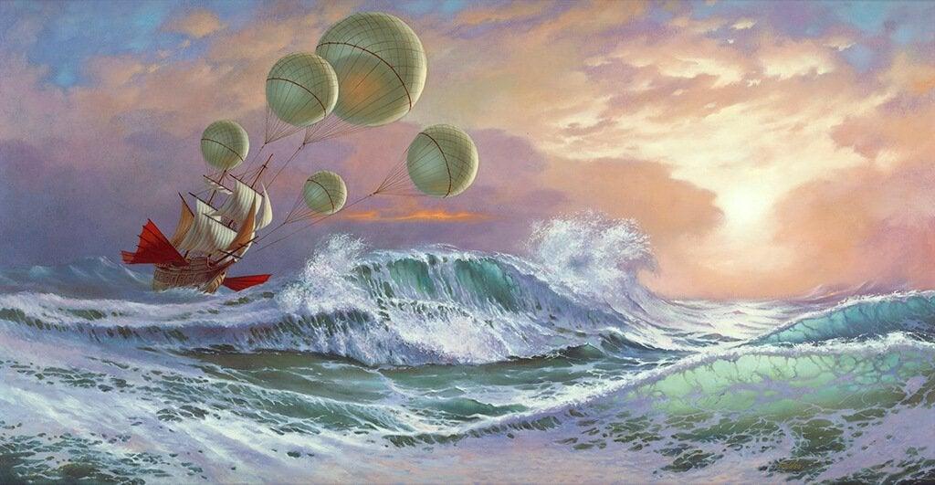 dalgalı denizde balonlu gemi