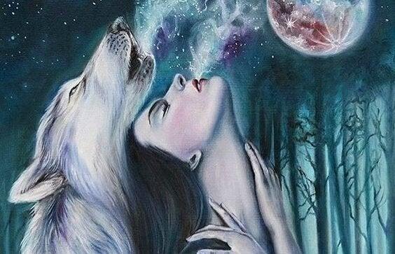 ruh soluyan kurt ve kadın