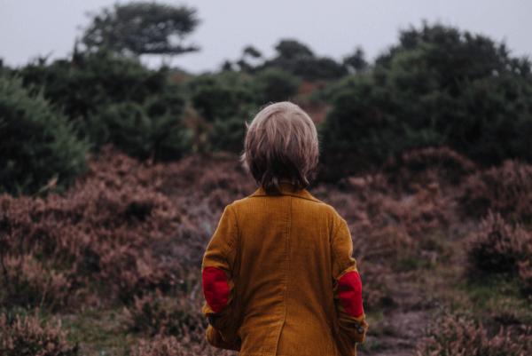 çayırlı tepeye bakan çocuk