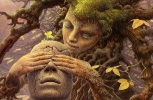 ağaç adam ve kadın oyun oynuyor