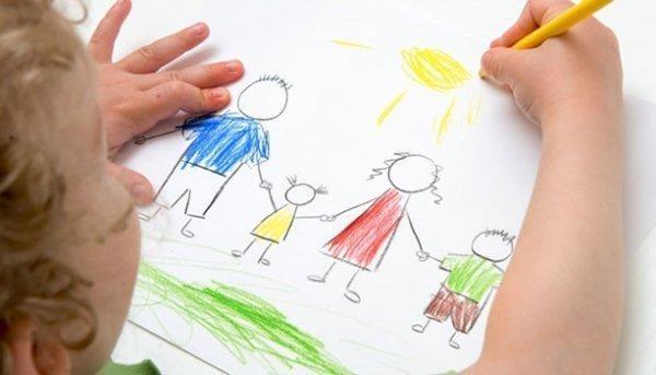 aile resmi ve güneş çizen çocuk