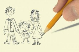 anne baba çocuk resmi kalem
