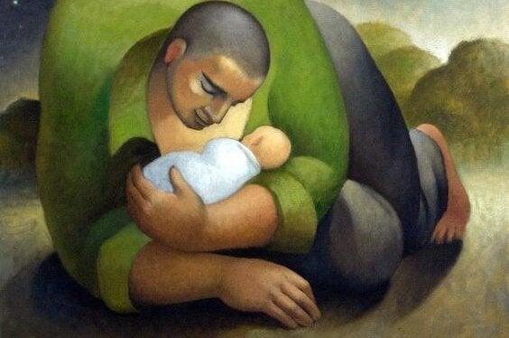 bebeği koruyan baba