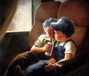 çocuklar süt içiyor