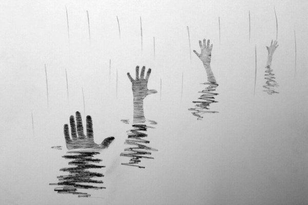suyun altından çıkan karalama eller