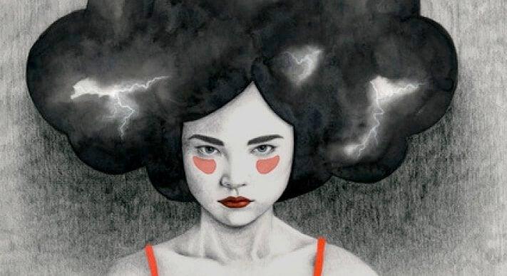 başında fırtına olan kadın