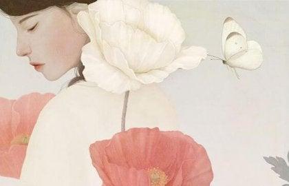 kadın çiçek ve kelebek