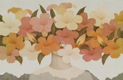 kadının kafasında çiçekler var