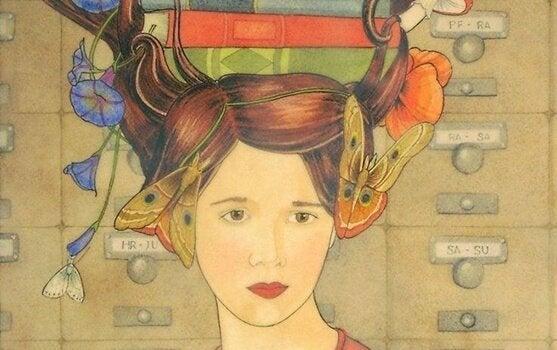 başının üstünde kitaplar olan kadın