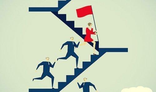 merdivenleri çıkan erkekler ve kırmızı bayrak tutan kadın