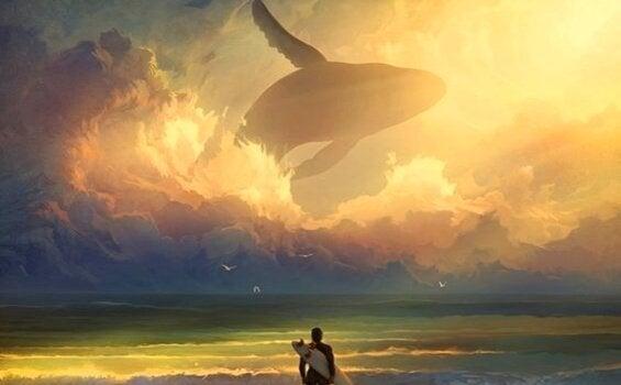 sörfçü gökyüzünde balina deniz